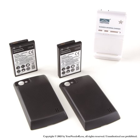YN4L® 2 X 3500mAh Extended Battery for LG Optimus M MS695 Metro PCS with Black Extended Back Cover + Wall Dock Charger Bundle ()