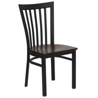 Flash Furniture HERCULES Series Black School House Back Metal Restaurant Chair, Wood Seat, Multiple Colors