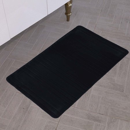 All American Collection New Solid 1 Piece Memory Foam Bathroom Mat (Stripe, Black)