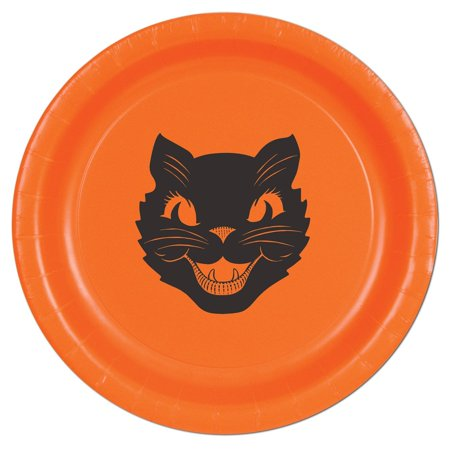 Halloween Cat Plates, 9-Inch, Orange, This item is a great value! By Beistle
