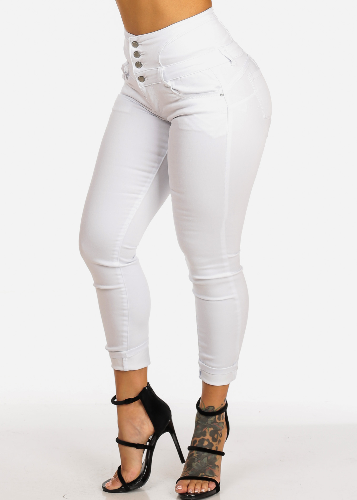 Womens Juniors High Rise 4 Button Butt Lifting Back Lace Up Solid White Skinny Jeans 10584R