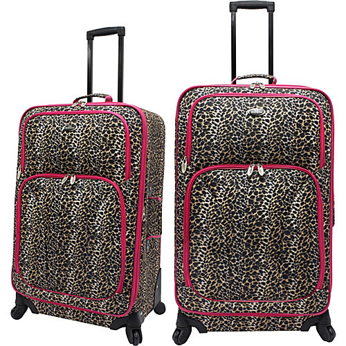 U.S. Traveler Fashion Leopard 2 Piece Spinner Luggage Set
