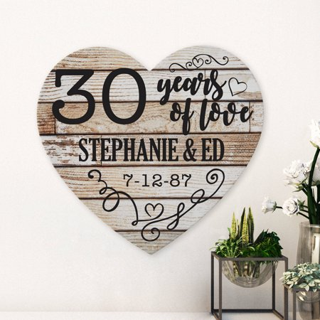 Personalized Years of Love Anniversary Wood Heart - Anniversary Signs