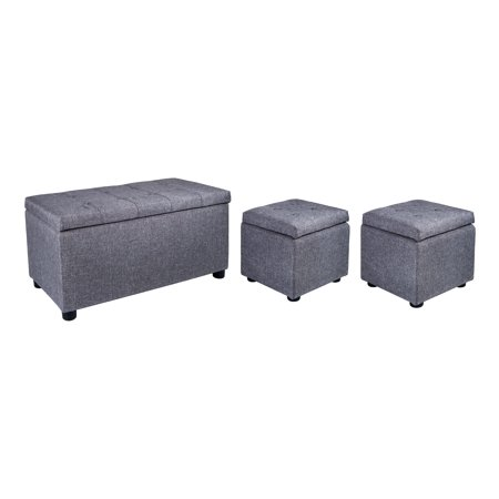 Fantastic Samincom 3 Piece Storage Bench Cube Ottoman Set H44 X W84 X Ncnpc Chair Design For Home Ncnpcorg