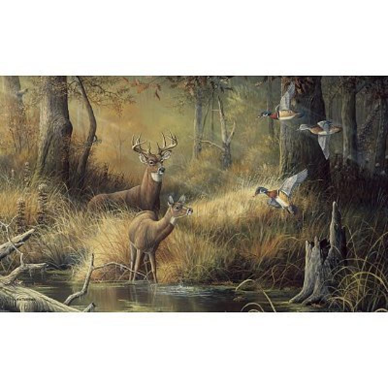 (99x164) October Memories Deer Ducks Hunting Huge Wall Mural Part 42