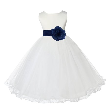 Ekidsbridal Satin Ivory Navy Tulle Rattail Edge Christmas Junior Bridesmaid Recital Easter Holiday Wedding Pageant Communion Princess Birthday Girls Clothing Baptism 829S size 4 Flower Girl Dress