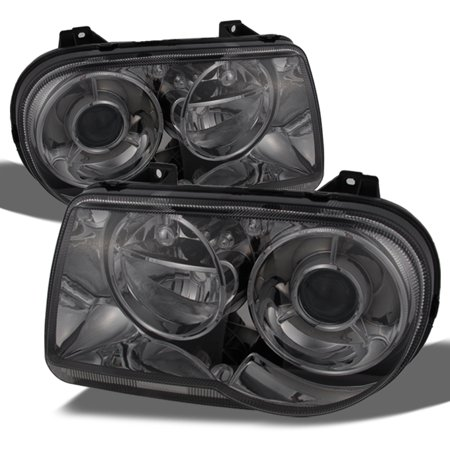 05-10 Chrysler 300C Smoked Replacement Projector Headlights Headlamps  Left+Right