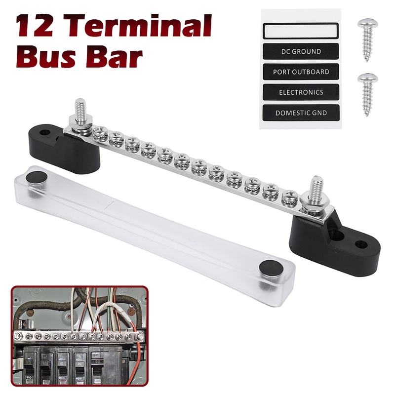 Power Distribution Terminal Block for Automotive and Marine 6 Terminal Bus Bar Kit 150A Bus Bar Block with Cover /& Heat Shrink Terminals; Ground Distribution