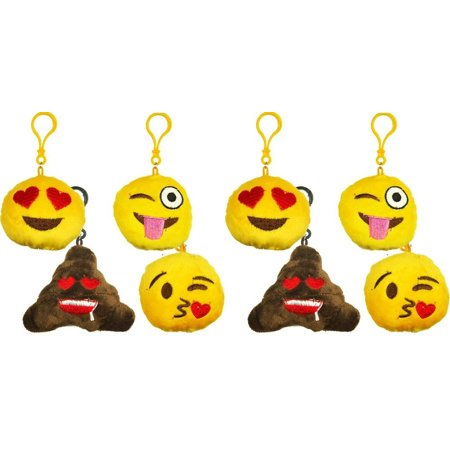 Steiff Key Ring - 8 Emoji Keychain Plush Stuffed Pillow Smiley Emoticon Large 3