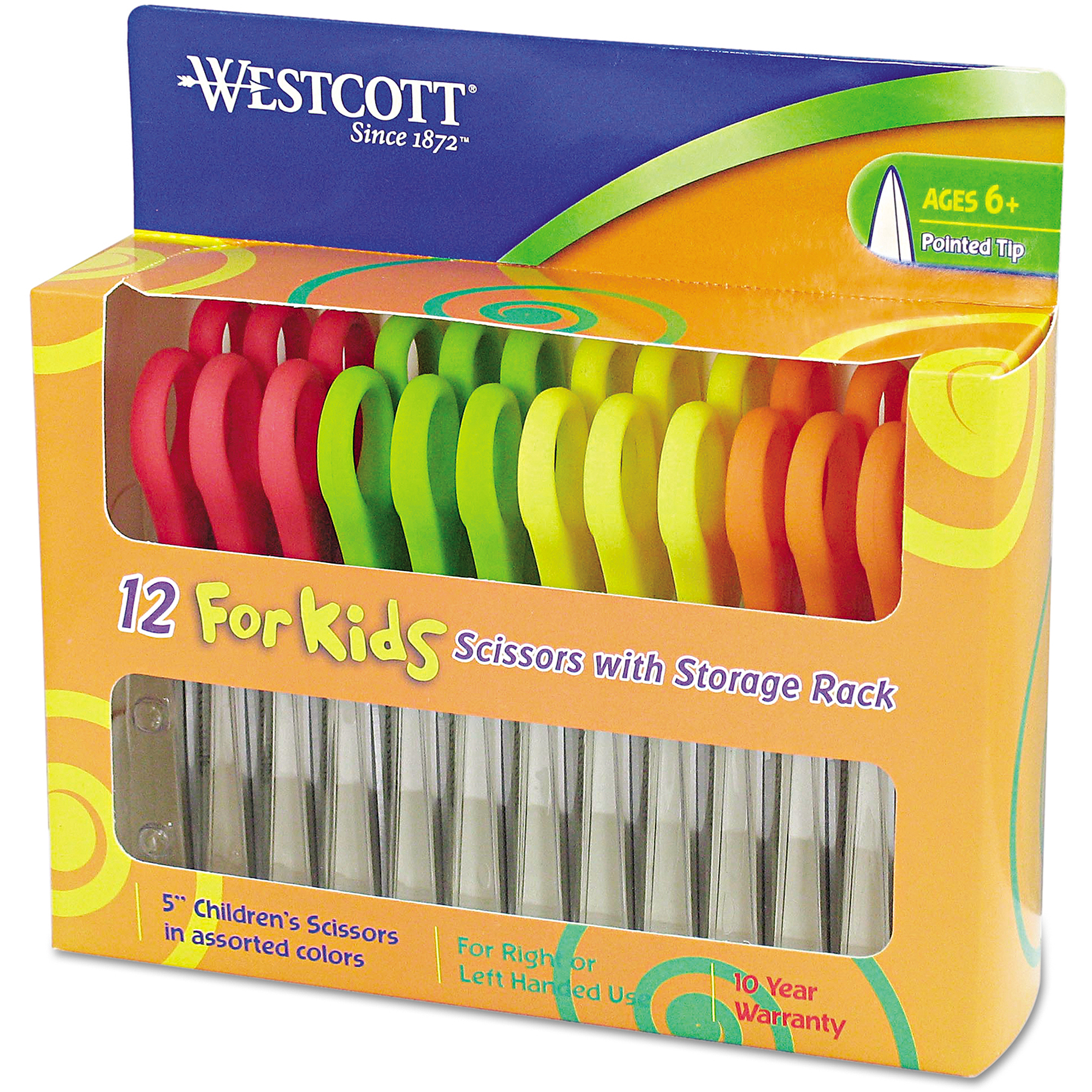 "Westcott 5"" Kids' Scissors, Pointed, Assorted Colors, 12-Pack"