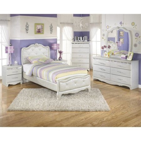 Ashley Zarollina 6 Piece Faux Croc Leather Twin Bedroom Set In Silver