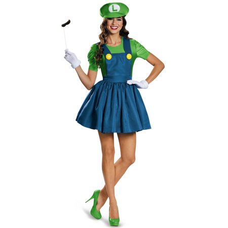 Super Mario Bros. Luigi Women's Plus Size Adult Halloween Costume, XL](Mario And Luigi Halloween Costumes Womens)