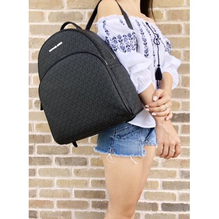 20d8cd209d6d Michael Kors - Michael Kors Abbey Large Backpack Black MK Signature PVC  Leather 2018 Fall - Walmart.com