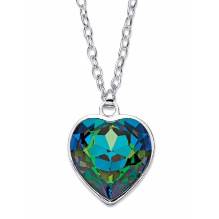 Aurora Borealis Faceted Crystal Silvertone Heart Pendant Necklace MADE WITH SWAROVSKI ELEMENTS 18