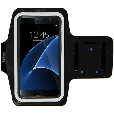 Key Jet - i2 Gear Armband for Galaxy S7 with Key Holder & Reflective Band  (Jet Black)