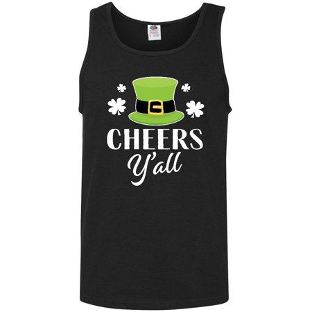 St Patricks Day Cheers Yall with Shamrocks Men's Tank Top