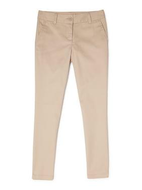 Wonder Nation Girls Plus School Uniform Stretch Twill Skinny Pants, Sizes 8-20