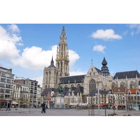 Statue of Rubens and Our Ladys Cathedral Stretched Canvas - Lisa S Engelbrecht  DanitaDelimont (36 x