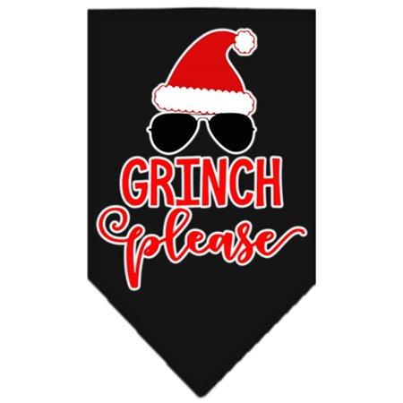 Grinch Please Screen Print Bandana Black Small