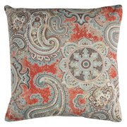 "Decorative Poly Filled Throw Pillow Paisley 22""X22"" Coral"