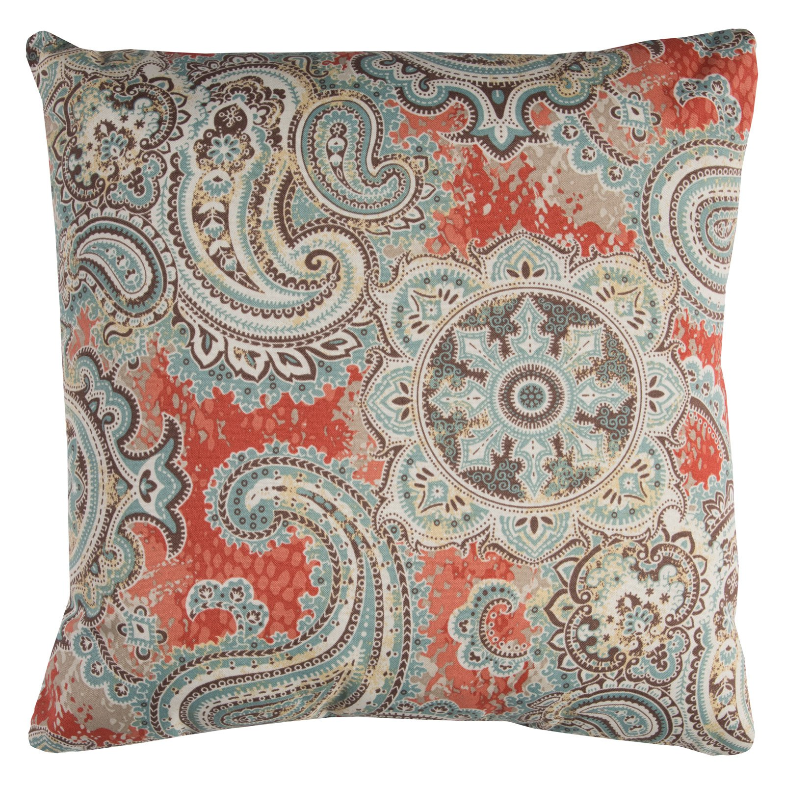"Rizzy Home Decorative Poly Filled Throw Pillow Paisley 22""X22"" Coral"