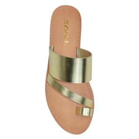 Joan Light Gold Soda Flip Flops Shoes Women Basic Sandals Flat Summer Thongs Toe Ring 5.5