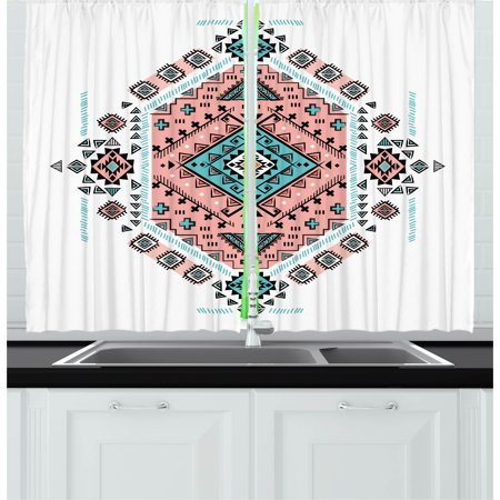 Corner Window (Tribal Curtains 2 Panels Set, Mexican Native American Ethnic Symmetrical Design Four Corner Art Pattern, Window Drapes for Living Room Bedroom, 55W X 39L Inches, Teal and Coral Pink, by Ambesonne)