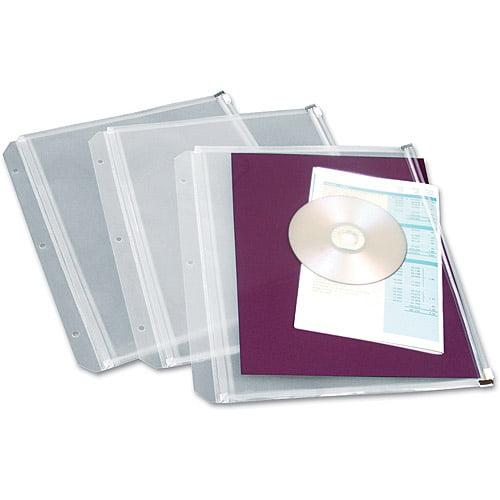Cardinal Zippered Binder Pockets, 8-1/2 x 11, Clear, 3/Pack