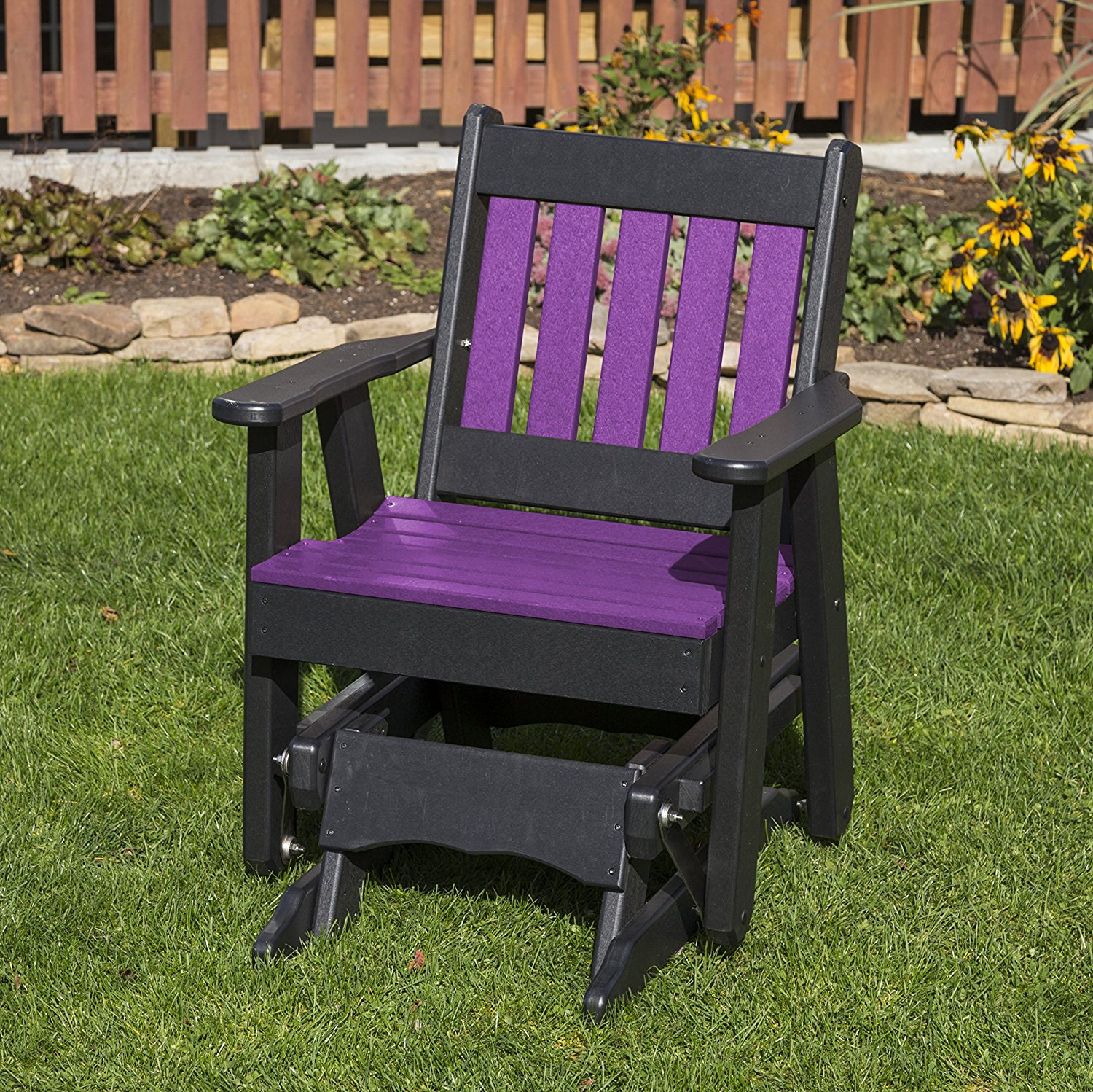 Outdoor Patio Garden Lawn Exterior Bright Purple Finish Poly Lumber Mission 2 Ft Glider Everlasting - Amish Crafted