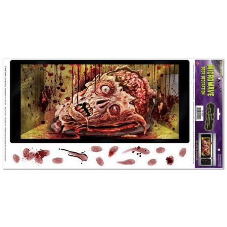 Club Pack of 12 Gruesome Head Peel 'N Place Halloween Microwave Door - Gruesome Halloween Decorations