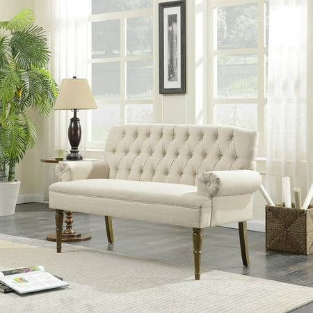 Belleze Button Tufted Mid Century Settee Upholstered Vintage Sofa Bench With Linen Fabric Wood Legs, Beige by Belleze