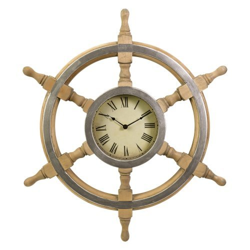 Wood Ship Wheel 26-in. Wall Clock