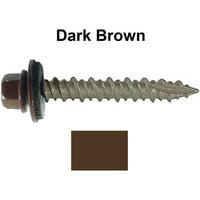 """Metal ROOFING SCREWS: (1000) 10 x 1-1/2"""" Dark Brown Hex Head Sheet Metal Roof Screw. Self starting metal to wood siding screws. EPDM washer. Colored head"""