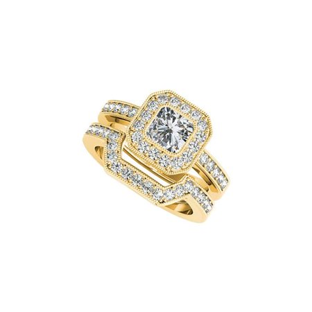 1.50 CT 18K Yellow Gold Vermeil Wedding Band Set Curved Cubic Zirconia Halo Engagement Ring, Size 6