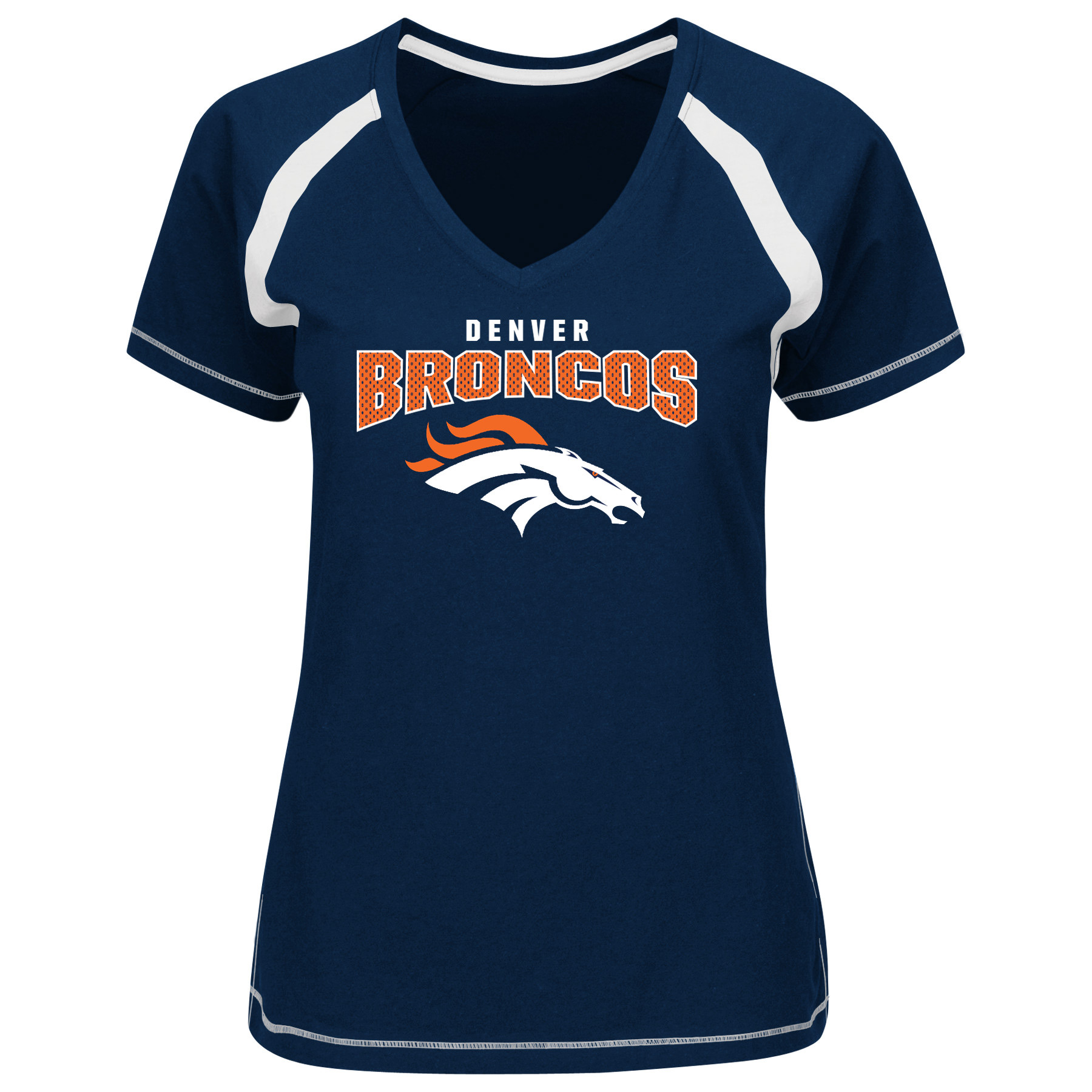 Denver Broncos Majestic Women's Game Day Tradition V-Neck T-Shirt - Navy - L