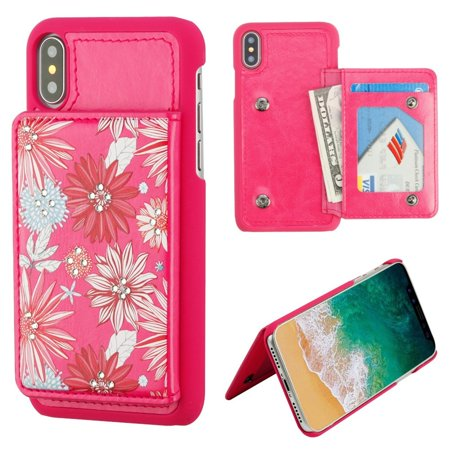 MyBat Executive Protector Spring Daisies Leatherette Hard Plastic/Soft TPU Rubber with ID/Credit Card Slot Case Cover For Apple iPhone X XS 2017, Hot Pink