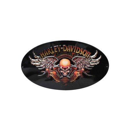 Harley-Davidson Oval Tin Sign, Biker To The Bone Winged Skull, Black 2010441, Harley Davidson