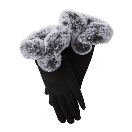 Sutton Faux Fur Gloves, Set of 2 Gloves, One Size Fits Most, 70% Wool; 30% Polyester, Multiple Colors