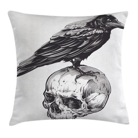 Scary Decor Throw Pillow Cushion Cover, Scary Movies Theme Crow Bird Sitting on a Human Old Skull Sketchy Image, Decorative Square Accent Pillow Case, 18 X 18 Inches, Black and - Movie Themed