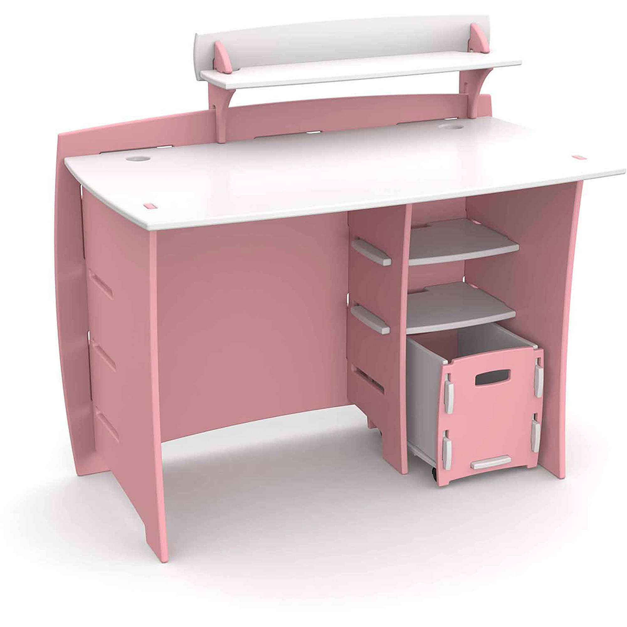 Legare Kids Furniture Princess Series Collection Complete Desk System Set, Pink and White