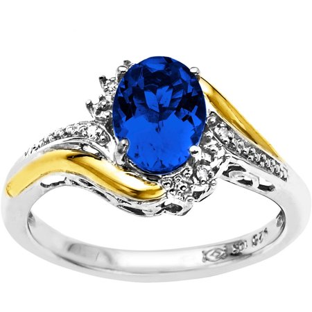 Duet Sterling Silver with 10kt Yellow Gold Oval Created Sapphire and Diamond Accent Ring