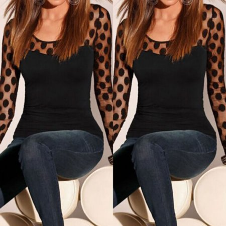 Long Sleeve Women Fashion Shirt Sexy Dot Style Blouses Ladies Loose Long Sleeve Lace Shirt Chiffon Blouse Shirt Female Clothes Black Size S ()