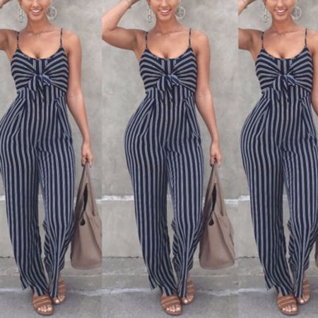 Women Summer Striped Sleeveless Jumpsuit Long Trousers Clubwear Playsuit Romper Size S