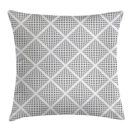 Grey Decor Throw Pillow Cushion Cover, Digital Geometric Volumetric Diamond Form with Dynamic Dashed Effects Web Lines Image, Decorative Square Accent Pillow Case, 18 X 18 Inches, White, by Ambesonne](Geometric Form)