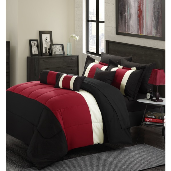 11-Piece Oversized Red & Black Comforter Set Queen Size Bedding with Sheet Set Included