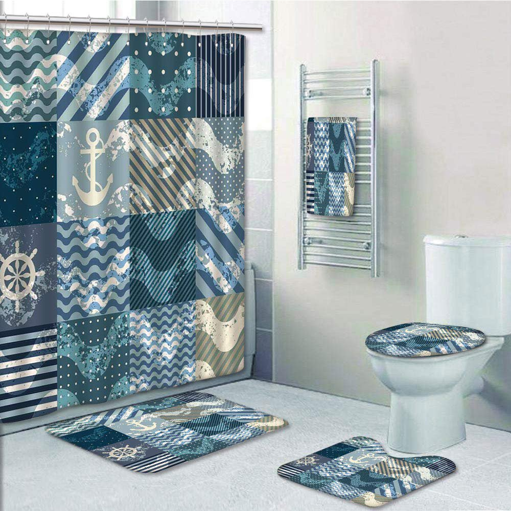 Nautical Marine Wave In Patchwork Bo
