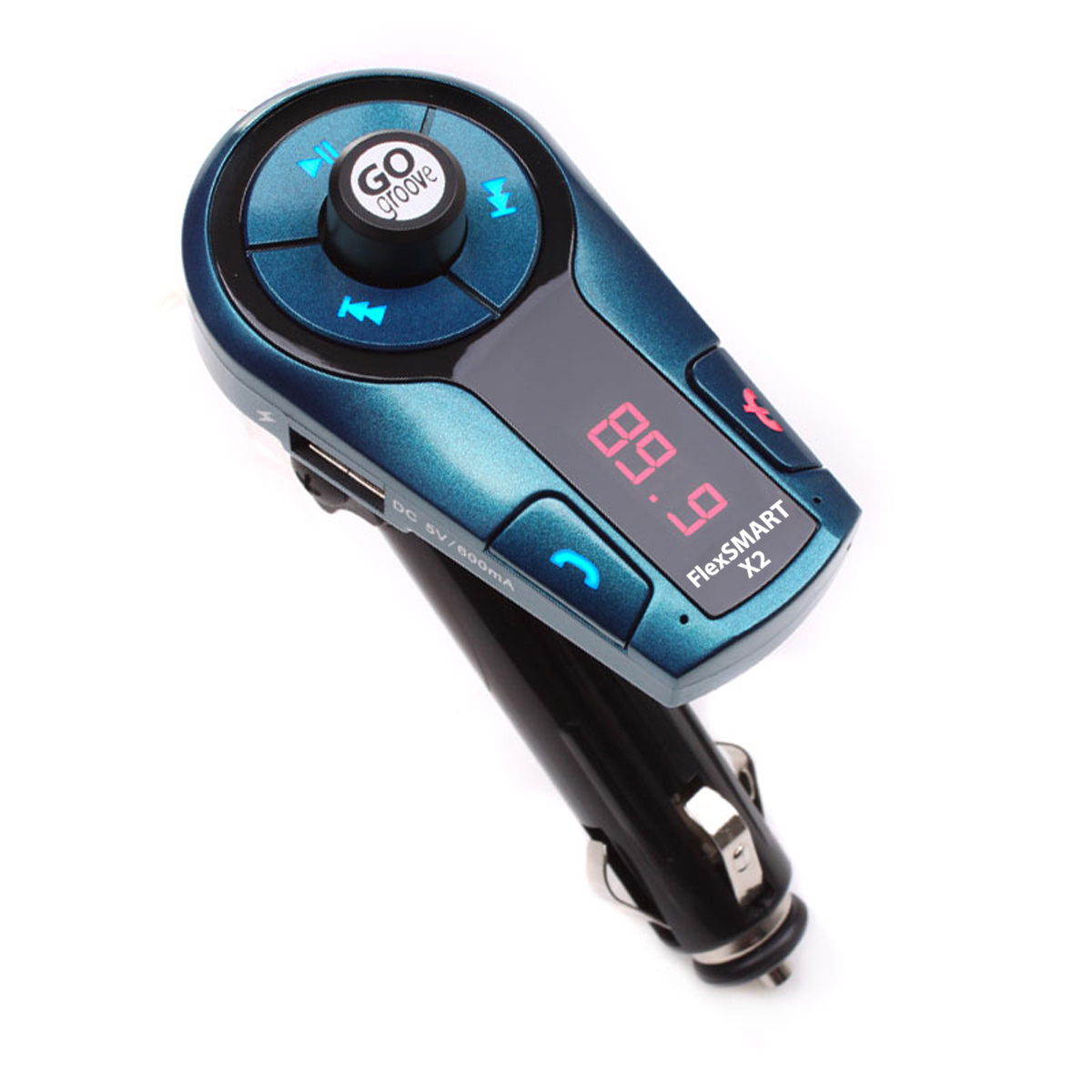 GOgroove FlexSMART X2 Mini Bluetooth FM Transmitter Car Kit (MANUFACTURER REFURBISHED) with Hands-Free Calling , USB Charging  - Compatible with iPhone , HTC , Samsung Galaxy and More Smartphones