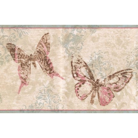 Abstract Rose Pink Brown Butterflies Beige Wallpaper Border Retro Design, Roll 15' x - Halloween Wallpaper Ios 7