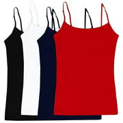 Women's & Juniors' Camisole Built-in Shelf Bra Adjustable Spaghetti Straps Tank Top 2 Pack or 4 Pack