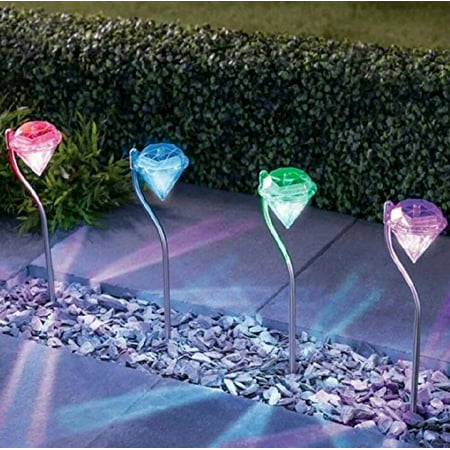 Solar Garden Lights, EpicGadget Outdoor Decorations Color Changing LED Diamond Solar Light Stainless Steel Stake Pathway lights for Landscape Walkway Yard Path Deck Lawn Patio Driveway (4 Pieces)](Light Stakes)